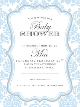 Babies & Children BABY SHOWER Invitations Darling Damask Blue and Grey invitation